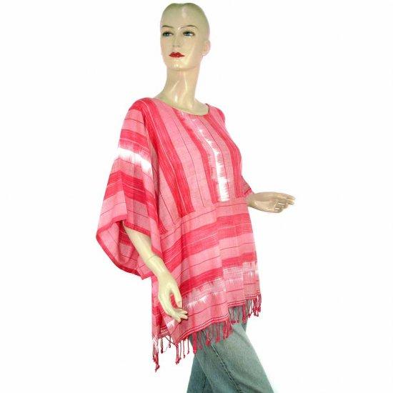 Pink White Kimono Sleeve Tunic Kaftan Caftan Blouse 1X 2X 3X 4X (MC59)