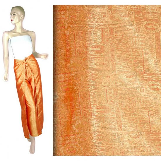Hippie Orange Silk Wrap Pants Beach Cover-Up OSFA (MC186)