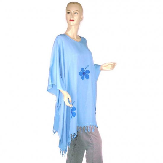 Blue Hibiscus Floral Poncho Tunic Kaftan Caftan Blouse With Sequin Bead Embroidery 1X 2X 3X (MN2231)