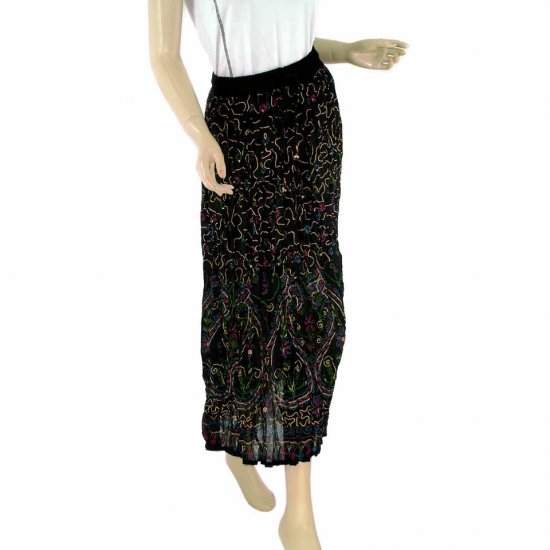 Black Boho Gypsy Long Skirt With Printed Indian Motifs Sequins Bells (MC238)