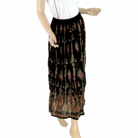 Black Boho Gypsy Long Skirt With Printed Indian Motifs Sequins Bells (MC239)