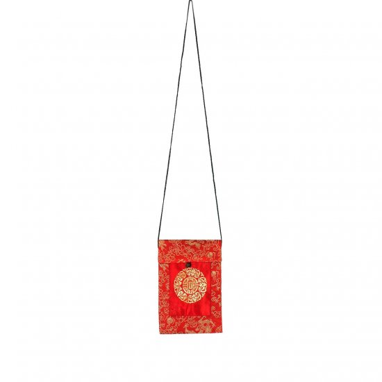 Red-Gold Chinese Brocade Sling-Bag Evening-Wear Purse (LFT34)