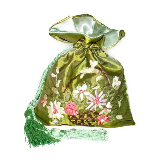 Green Floral Embroidered Evening Bag Purse Draw-String Tassels (LFT21)
