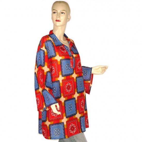 Red Blue Brown Abstract Shirt Blouse Kaftan 1X 2X 3X (MC126)