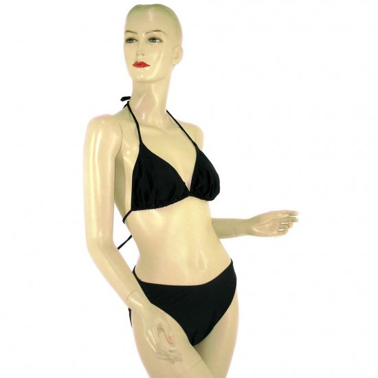2-Piece Black Halter-Top Bikini Swimwear XL (PS6)
