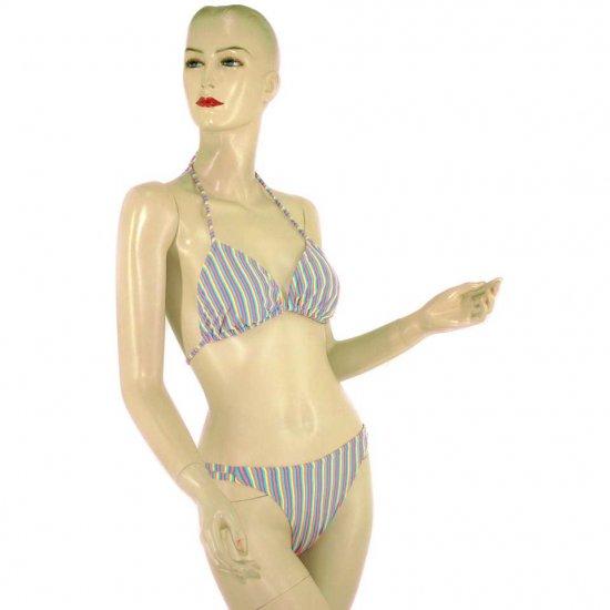 2-Piece Rainbow Stripe Halter Top Bikini Swimwear M (PS14)