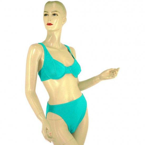 2-Piece Teal Aquamarine Bra Top Bikini Swimwear XL (PS54)