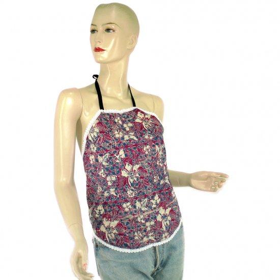 Purple Batik Chinese Style Du-Dou Halter-Neck Top OSFA (KTN4)