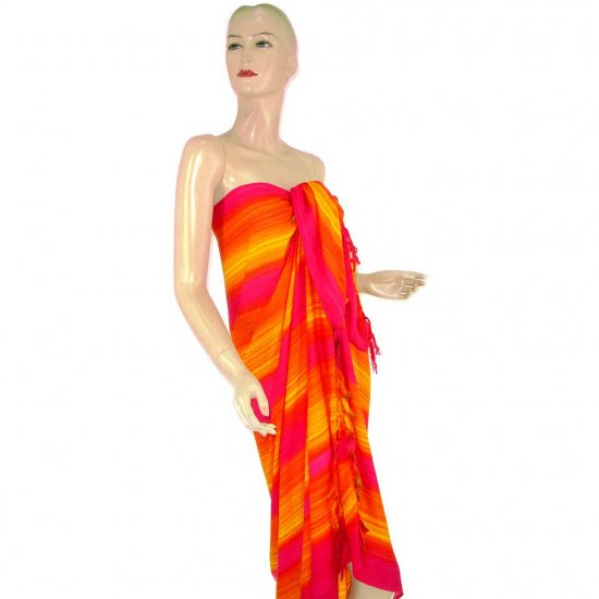 Fuchsia Orange Stripes Print Sarong Pareo Skirt Dress Wrap Shawl Beach Cover-Up (MP136)
