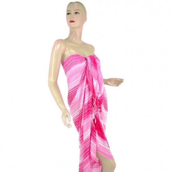 Pink Stripes Print Sarong Pareo Skirt Dress Wrap Shawl Beach Cover-Up (MP140)