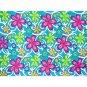 Blue Abstract Floral Print Sarong Pareo Skirt Dress Wrap Shawl Beach Cover-Up (MP141)