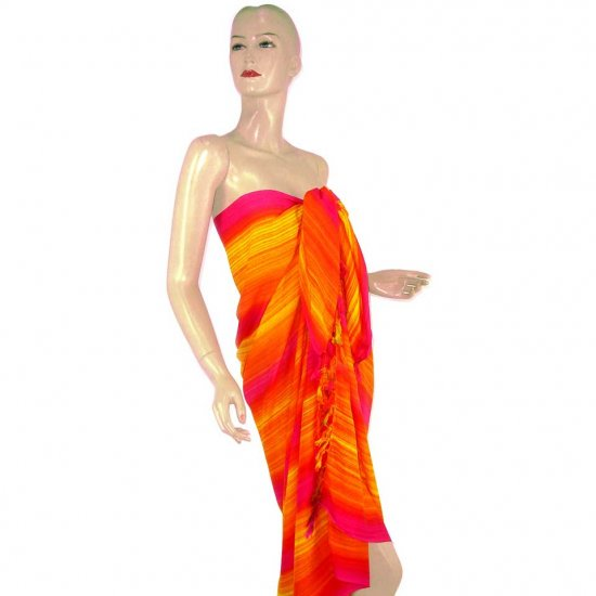 Fuchsia Orange Stripes Print Sarong Pareo Skirt Dress Wrap Shawl Beach Cover-Up (MP142)