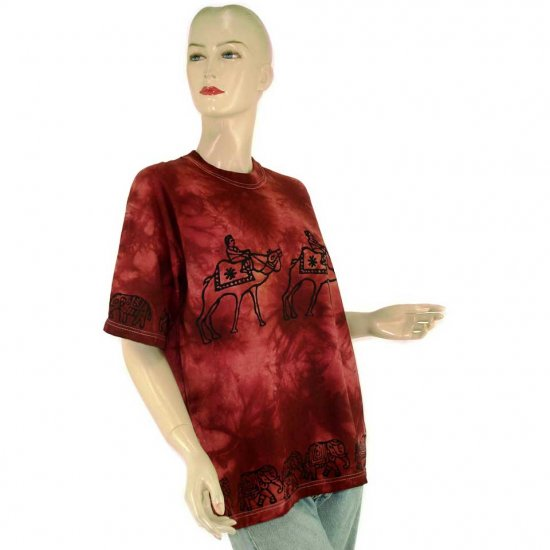 Brown Burgundy Camel Elephant Tie-Dye Batik T-shirt S M (MISCI4)