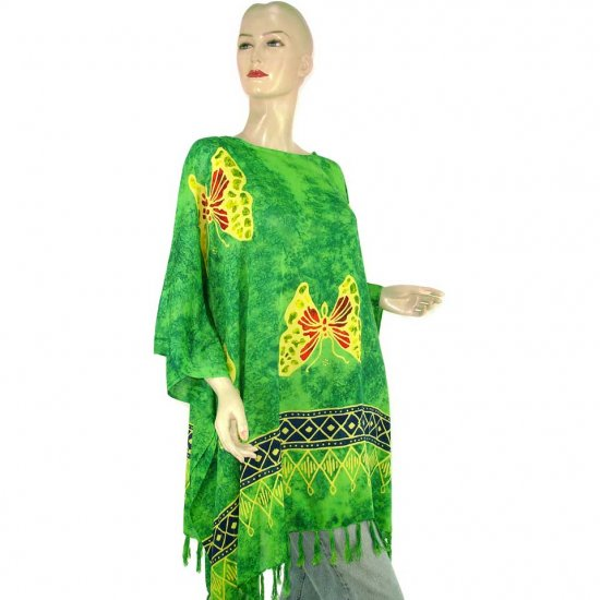 Hand-Drawn Green Butterfly Batik Poncho Tunic Kaftan Caftan Top 1X 2X 3X 4X 5X (MN6227)