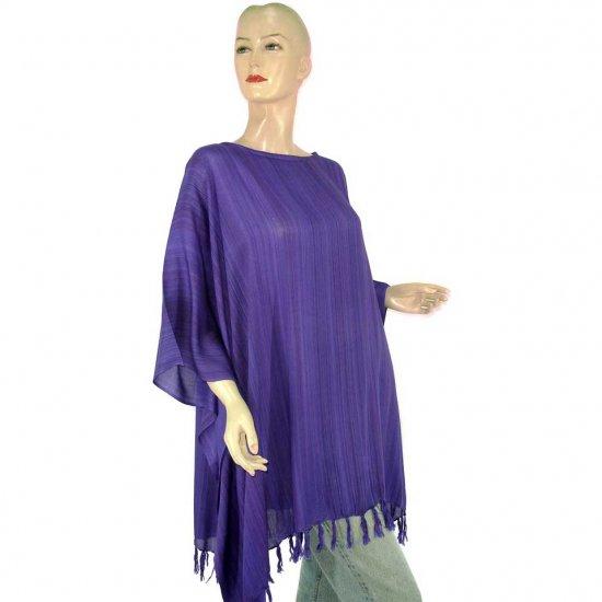 Purple Stripes Poncho Tunic Kaftan Caftan Blouse 1X 2X 3X 4X 5X (MN6230)