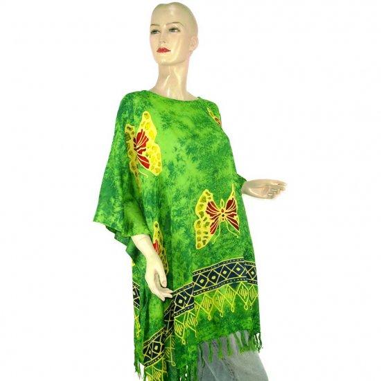 Hand-Drawn Green Butterfly Batik Poncho Tunic Kaftan Caftan Top 1X 2X 3X 4X 5X (MN6263)