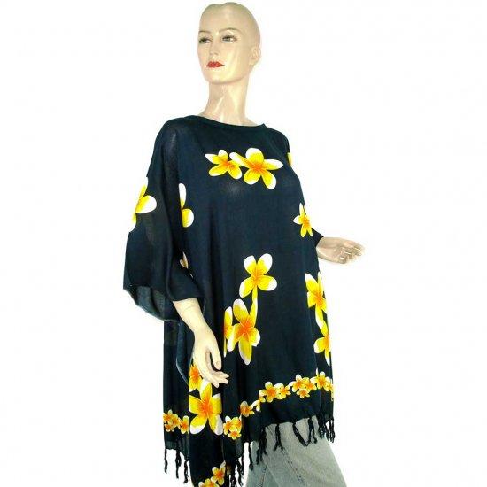 Black Frangipani Floral Print Poncho Tunic Kaftan Caftan Blouse 1X 2X 3X 4X 5X (MN6304)