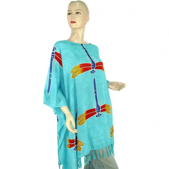 Hand-Drawn Blue Dragonfly Batik Poncho Tunic Kaftan Caftan Maternity Pregnancy ONE SIZE (MN6307)
