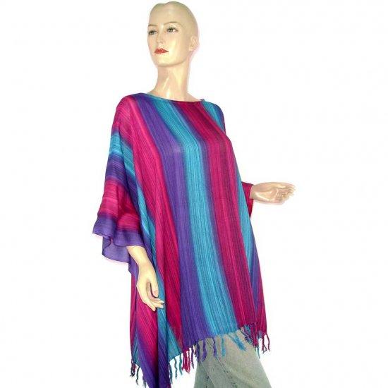 Blue Fuchsia Purple Stripes Poncho Tunic Kaftan Blouse Maternity Pregnancy ONE SIZE (MN6338)