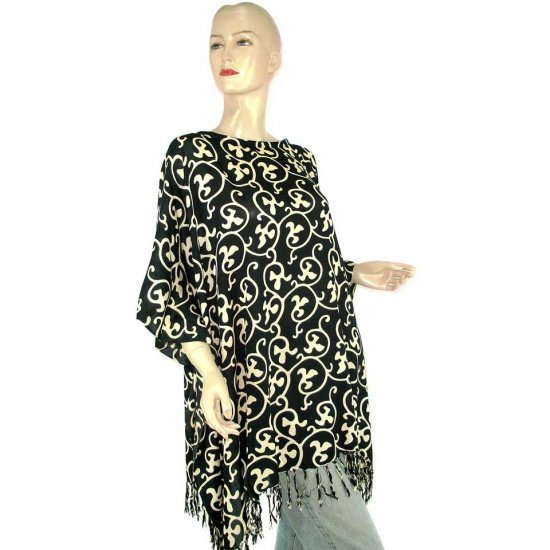 Black Cream Abstract Batik Poncho Tunic Kaftan Caftan Blouse Maternity Pregnancy ONE SIZE (MN6361)