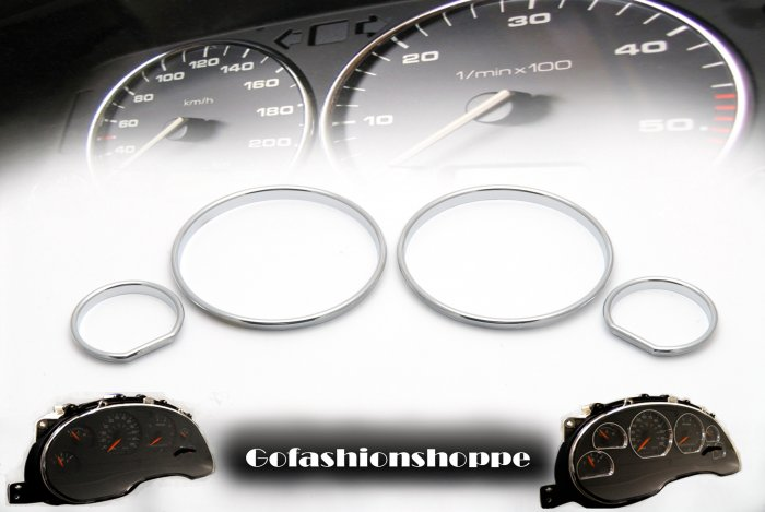 VW GOLF II chrome ABS plastic DASHBOARD GAUGE RINGS - DRA7