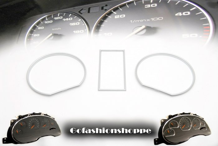 VW GOLF II SILVER FINISHED DASHBOARD GAUGE RINGS - DRA8