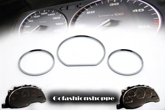 MERCEDES BENZ W210 00+ SILVER DASHBOARD GAUGE RINGS - DRB8
