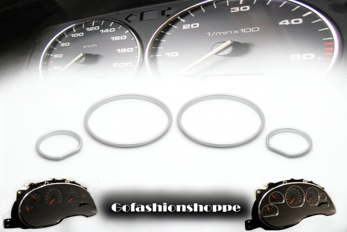 BMW E34 SILVER CLUSTER ABS DASHBOARD GAUGE RING KIT -DRB1