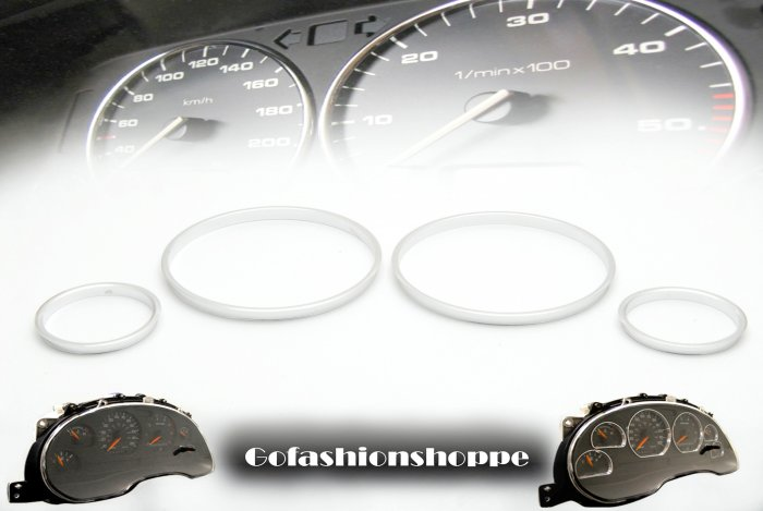BMW E30 BRUSHED ALUMINUM ABS DASHBOARD GAUGE RINGS DRA4