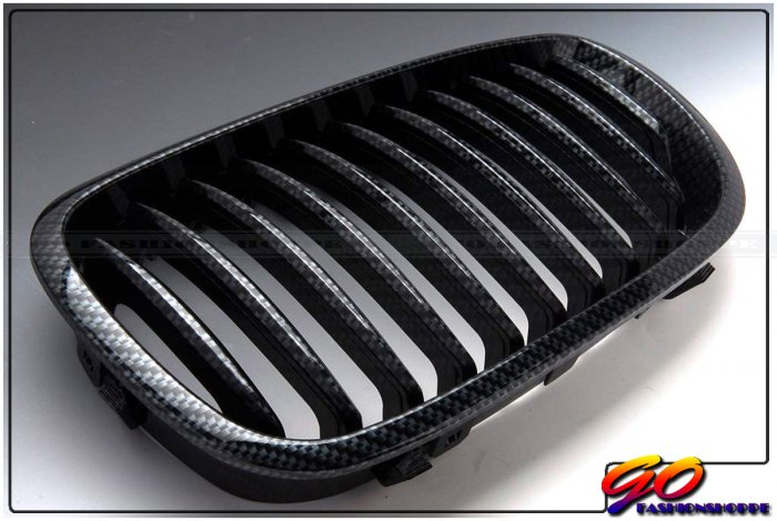 03 04 05 BMW E46 Sedan 4D 328 330 Carbon Look Grille-GRB9