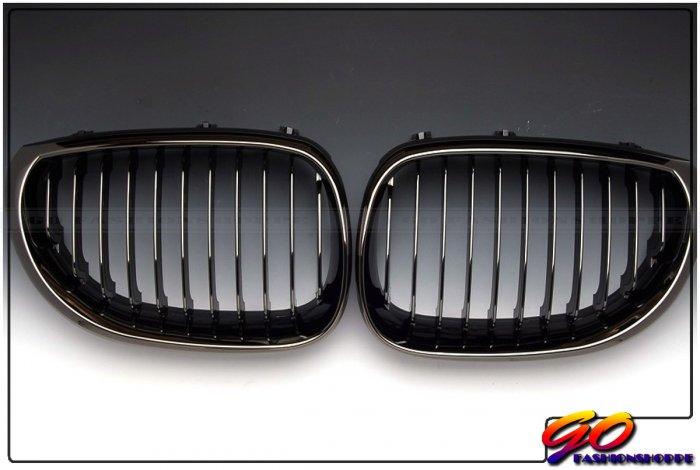 04~09 BMW E60 528 550 M5 Black Chrome Front Grille-GRD4