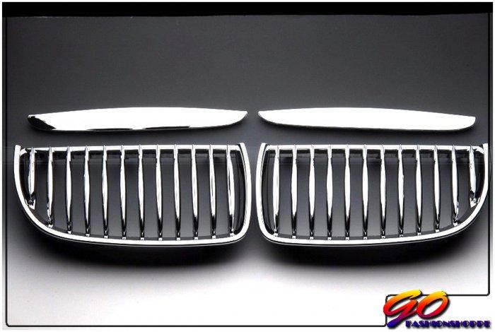 06-08 BMW E90 325 328 330 Chrome/Black Front Grille-GRH4