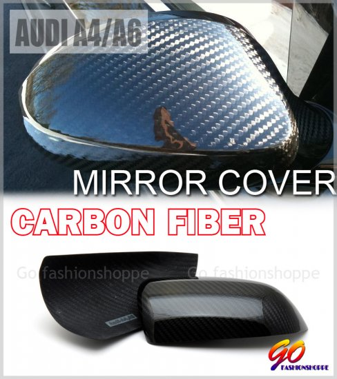 Audi A4 A6 05-08 Dry Real Carbon Mirror Cover -MCA1