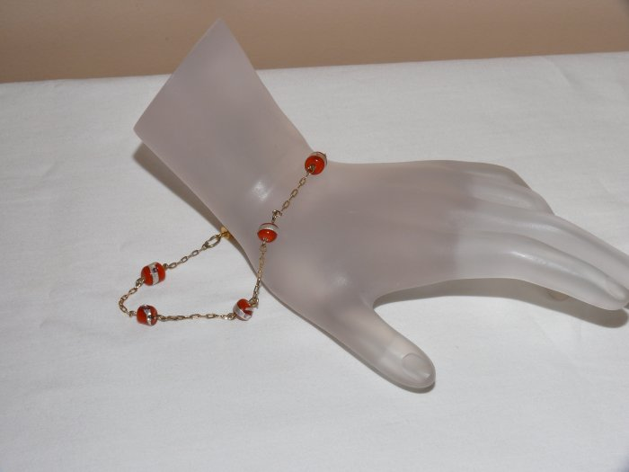 ** SALE WAS $15 NOW $10 FREE SHIPPING** Orange  Foil Gold Plated Bracelet
