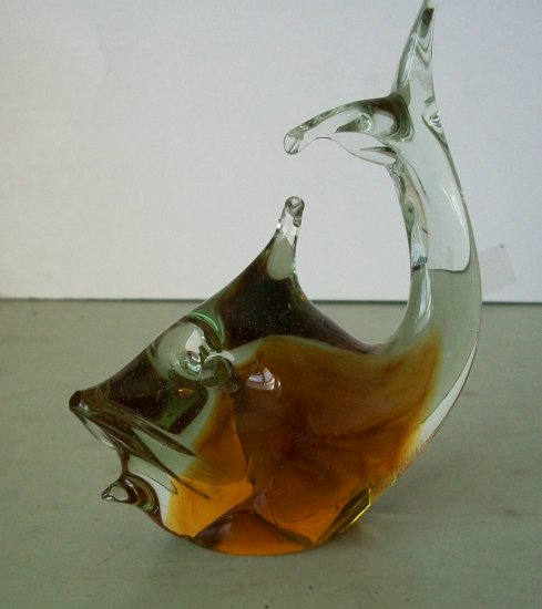 Amber Glass Fish / Whale Figurine  Paperweight