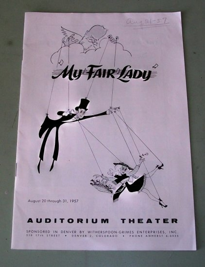 My Fair Lady  1957 Theatre Playbill Booklet  Brian Aherne and Anne Rogers
