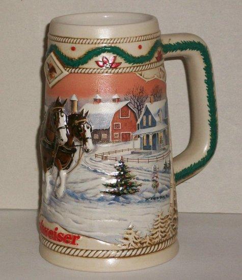 Budweiser  1996  Holiday Stein   American Homestead