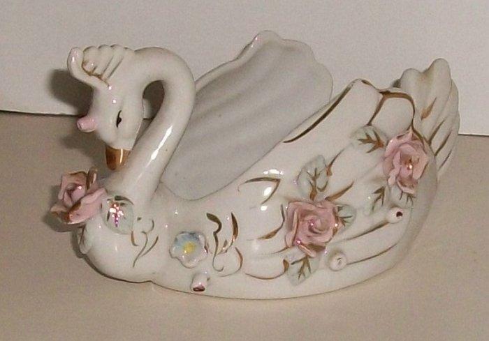Beautiful Bone China Swan  Roses  Flowers