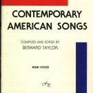 Contemporary American Songs  by Bernard Taylor  1960 Music Book