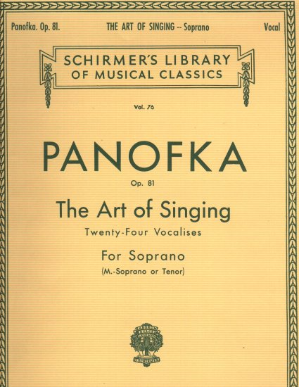 Panofka Op. 81  The Art Of Singing For Soprano  Music Book