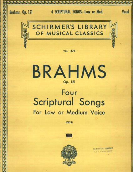 Brahms Op.121 Four Scriptural Songs  1967 Music Book