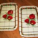 2 Vintage Metal / Tin Snack /Serving Trays - Red Flowers