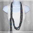Fiber Necklace, I-Cord Lariat Style in Night Skies and Heavy Metals Ribbon, Hand Knit