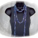 Fiber Necklace, I-Cord Lariat Style in Ocean Shades Ladder Yarn, Hand Knit