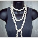 Fiber Necklace, Entwined Chains Lariat Style in Creamy Natural, Hand Crocheted
