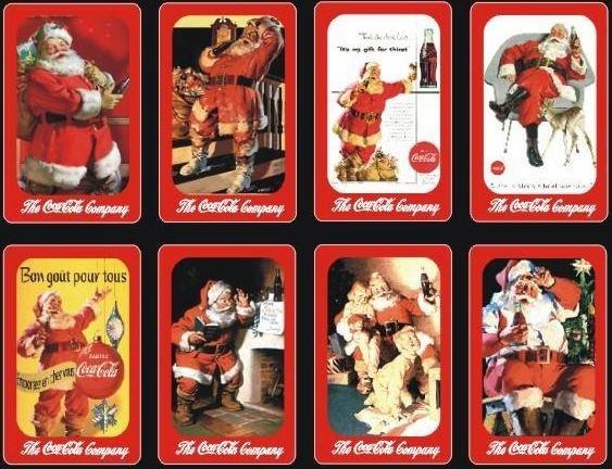 2008 COCA-COLA COKE MERRY CHRISTMAS 8 AD POCKET CALENDAR TRADING CARDS