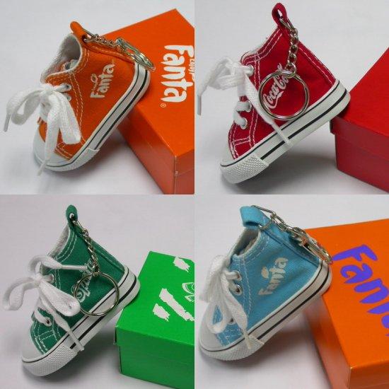 2000 Coca-Cola 4 Coke Fanta Sprite Advertising Key Chain Of Orange Little Shoe With Box