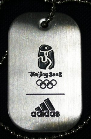 Beijing 2008 Olympics Sponsor Adidas Steel Tag 100% Official