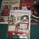 Leisure arts 3 counted cross stitch pattern books