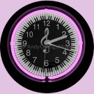 Neon Light Keyboard & G-Clef Design Wall Clock in Pink - Music Gift
